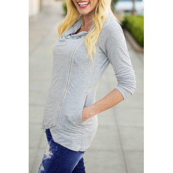 Chic Cowl Neck Solid Color Long Sleeve Zippered Pullover Sweatshirt For Women
