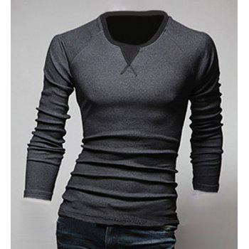Classic Color Block Triangle Pattern Slimming Round Neck Long Sleeves Men's Linen Blended T-Shirt DEEP GRAY