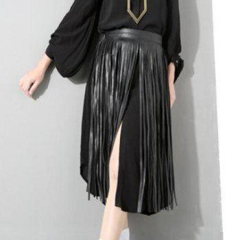 Chic Overlong Tassel Fake Skirt Embellished Women's PU Waistband -  BLACK