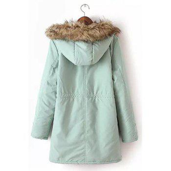 Long Sleeve Fur Collar Hooded Lace-Up Coat For Women - LIGHT GREEN XL