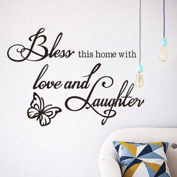 Good Quality Letter Butterfly Pattern Removeable Wall Sticker - BLACK