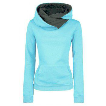 Casual Style Long Sleeve Hooded Fleece Pure Color Women's Pullover Hoodie
