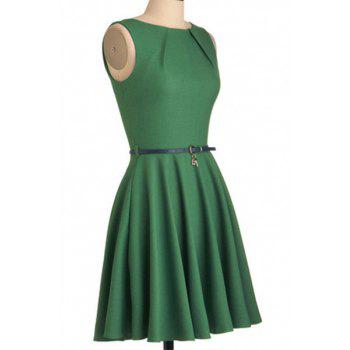 Graceful Sleeveless Round Collar Pure Color Women's Dress - M M