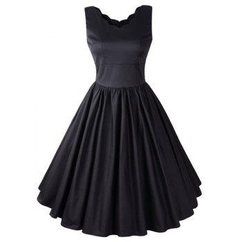 Vintage Style Sleeveless V-Neck Solid Color Women's Dress