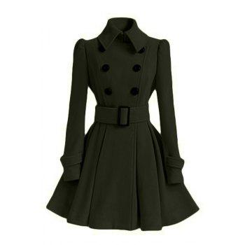Double Breasted Fit and Flare Wool Coat