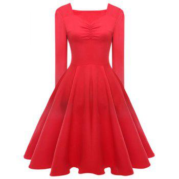 Elegant Long Sleeve Sweetheart Neck Ruched Solid Color Women's Dress