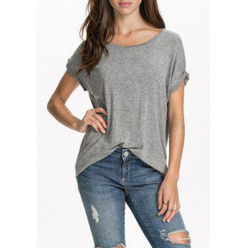 Casual Women's Scoop Neck Wing Pattern Loose-Fitting T-Shirt - L L