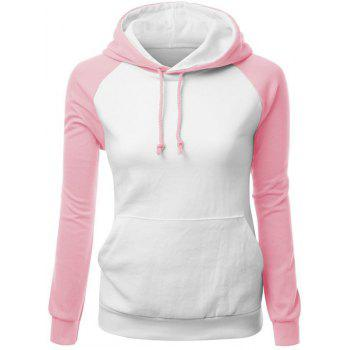 Charming Hit Color Drawstring Hooded Raglan Pullover Hoodie For Women