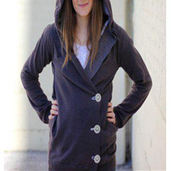 Chic Irregular Hooded Skew Buttoned Hoodie For Women