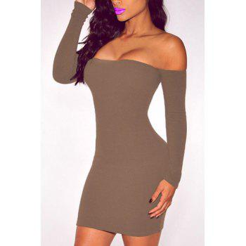 Stuning Off-The-Shoulder Long Sleeve Solid Color Bodycon Women's Dress