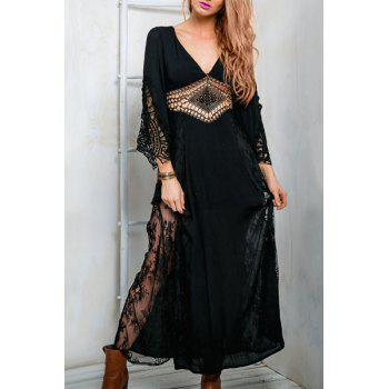 Alluring Hollow Plunging Neck See-Through Long Sleeve Dress For Women