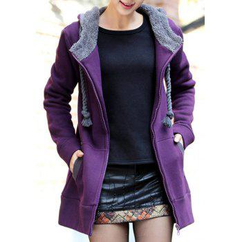 Casual Style Long Sleeve Hooded Loose-Fitting Women's Zip Up Hoodie