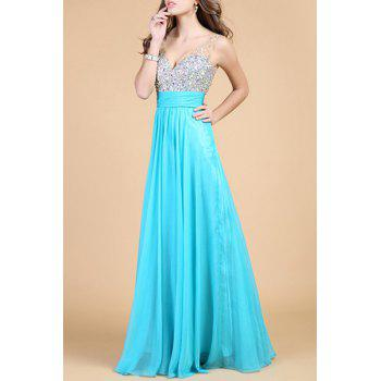 Noble Sleeveless V-Neck Backless Sequins Splicing Women's Prom Dress