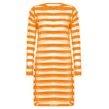 Plus Size Round Neck Stripes See-Through Long Sleeve Women's Dress