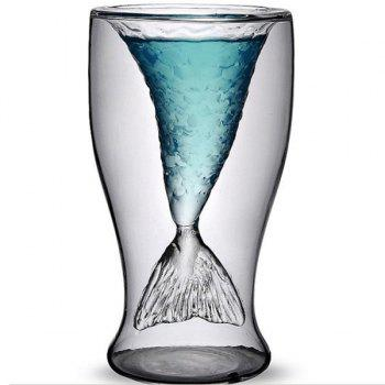 Cool 300ml Transparent Double-Layered Fishtail Design Glass Cup