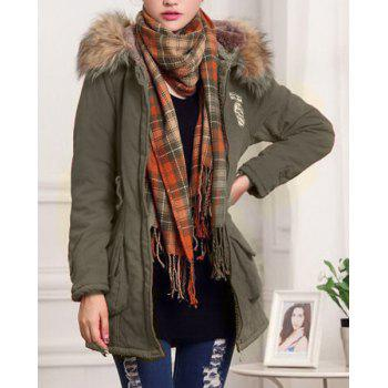 Graceful Long Sleeve Hooded Badge Embroidered Women's Padded Coat