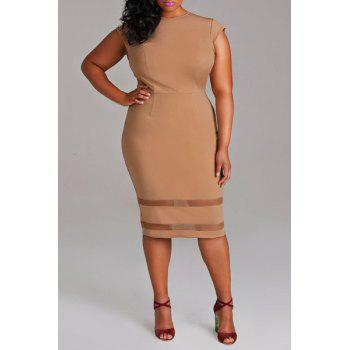Stylish Women's Round Neck Short Sleeve Mesh Spliced Plus Size Dress