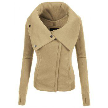 Chic Hooded Long Sleeve Zippered Pure Color Women's Jacket