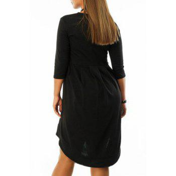 Chic 3/4 Sleeve Round Neck Asymmetrical Women's Dress - XL XL