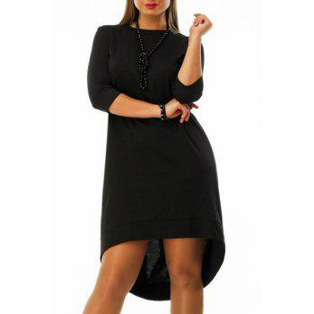 Chic 3/4 Sleeve Round Neck Asymmetrical Women's Dress - BLACK XL