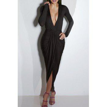 Sexy Ruffled Plunging Neck Long Sleeve Dress For Women