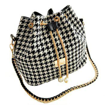 Stylish Houndstooth and Chains Design Shoulder Bag For Women - WHITE AND BLACK WHITE/BLACK