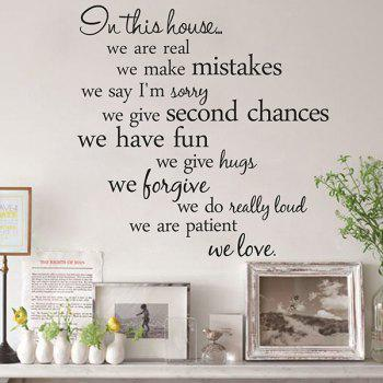 Creative 55.8*55.8cm Removable Proverbs In This House Wall Stickers For Homes