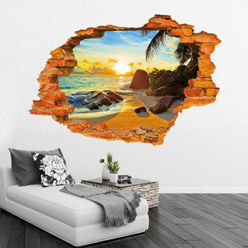 High Quality Broken Wall Beach Pattern Removeable 3D Wall Sticker - COLORMIX