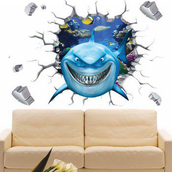 High Quality Colorful Shark Pattern Removeable Waterproof 3D Wall Sticker - COLORMIX