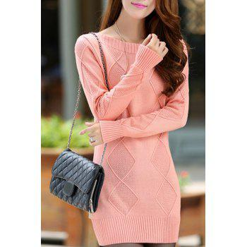 Stylish Round Neck Long Sleeve Solid Color Slimming Women's Sweater