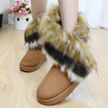 Faux Fur Snow Boots - BROWN 40