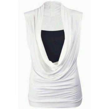 Chic Square Neck Cap Sleeve Pleated Wrapped T-Shirt For Women