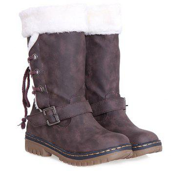 College Style Buckle Strap and PU Leather Design Snow Boots For Women