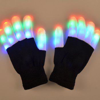 Stylish Pair Of Cotton Material 7-Mode Colorful Changing LED Finger Lighting Flashing Gloves