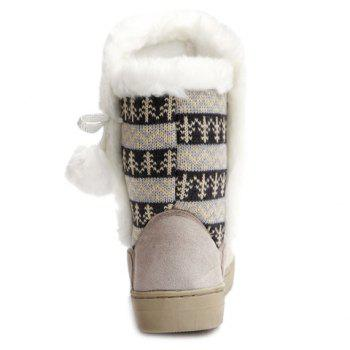 Stylish Knitting and Pompon Design Snow Boots For Women - OFF WHITE 38