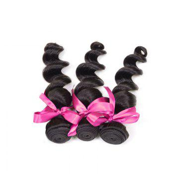 3pcs Virgin Hair Burmese Loose Wave Extension Human Hair Weave - BLACK BLACK