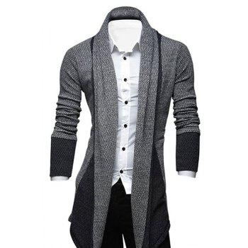 Turndown Collar Longline Color Block Cardigan