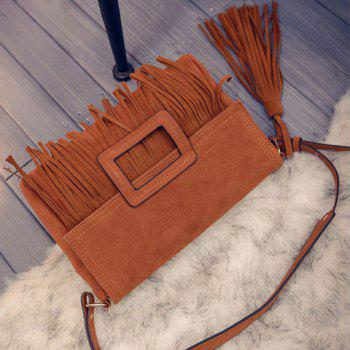 Stylish Buckle and Tassels Design Crossbody Bag For Women - BROWN