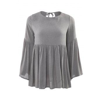Buy Fashionable Jewel Neck Ruffle Backless Long Sleeve Blouse Women AS THE PICTURE