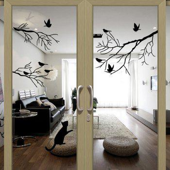 Cute Birds on The Tree Style Removable Wall Stickers Water Resistant Wallpaper Home Art Decals