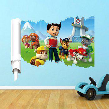 3D Dog Patrol Team Cartoon Style Removable Wall Stickers Water Resistant Home Art Poster
