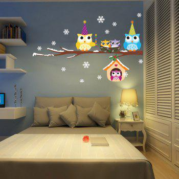 Christmas Snowflake Owl Style Removable Wall Stickers for Party Decorations