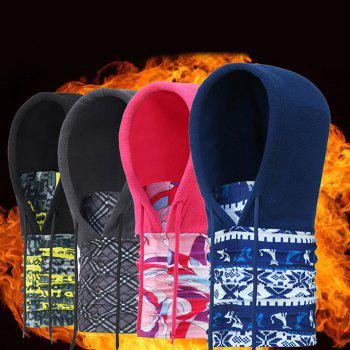 Cycling Anti-static Masked Hat + Kerchief Polar Fleece Made -  ROSE RED