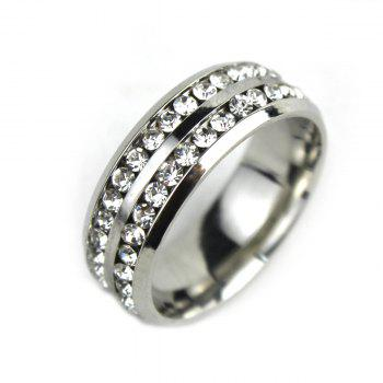 Double-circle Crystal Inlaid Titanium Steel Ring Unisex Finger Jewelry