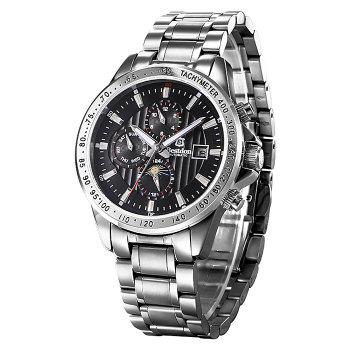 Bestdon 7108G Date Day Display Automatic Mechanical Watch for Men - SILVER + BLACK SILVER / BLACK