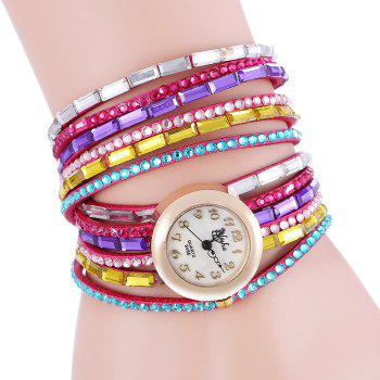 yilisha 2621 Women Colorful Diamond Quartz Watch Shell Face Wristwatch