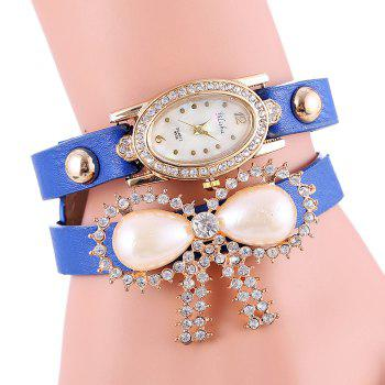 yilisha 2580 Female Diamond Pearl Bowknot Quartz Watch with PU Band