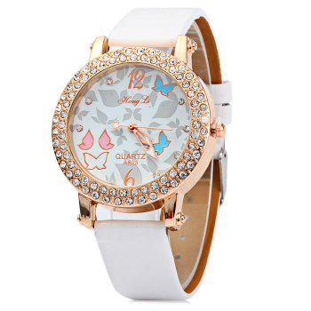 Hong Li A803 Women Quartz Watch with Butterfly Pattern Diamond Bezel