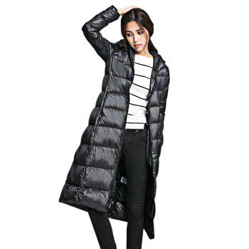 Chic Slimming Hooded Long Sleeve Zippered Long Padded Coat for Women