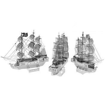 Boat Laser Cutting Model 3D Jigsaw Metallic DIY Toy - SILVER SILVER